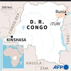 Map of DR Congo locating Bunia in Ituri province.  By Valentina BRESCHI (AFP)