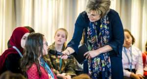 Dutch Princess Laurentien talks to children and experience experts during the launch of the Child Poverty Alliance in The Hague. By Lex van Lieshout (ANP/AFP/File)