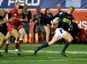 Dylan Sage of South Africa makes a clean break as they ran out 19-12 winners over Canada during the USA Sevens Rugby tournament in Las Vegas, Nevada.  By David Becker (GETTY/AFP)