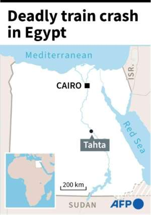 Map of Egypt locating Tahta district, site of a deadly train crash Friday.  By  (AFP)