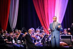 Egyptian classical Arabic music singer Ahmad Adel performs a song by celebrated 20th century Egyptian composer Mohamed Abdel Wahab, at the Arab Music Institute Theatre.  By Mohamed el-Shahed (AFP)