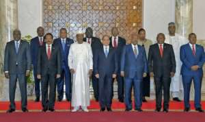Egyptian President Abdel Fattah al-Sisi (C) hosts African leaders for summit talks on the upheavals in Sudan and Libya. By Handout (Egyptian Presidency/AFP)