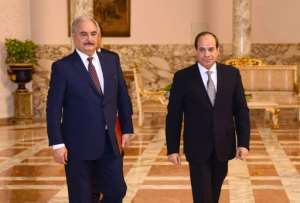 Egyptian President Abdel Fattah al-Sisi (R) met with Libyan commander Khalifa Haftar (L) in Cairo just days after Haftar's forces launched an offensive on Tripoli. By - (Egyptian Presidency/AFP/File)