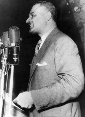 Egyptian President Gamal Abdel Nasser announcing on July 26, 1956 that he is nationalising the Suez Canal.  By  (AFP)