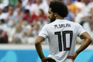 Egypt's forward Mohamed Salah looks on during the Russia 2018 World Cup Group A football match between Saudi Arabia and Egypt at the Volgograd Arena in Volgograd on June 25, 2018.  By NICOLAS ASFOURI (AFP)