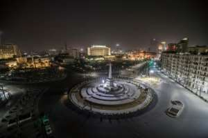 Egypt's landmark Tahrir Square in Cairo stands empty on the first evening of a two-week long night-time curfew imposed by the authorities.  By Khaled DESOUKI (AFP)