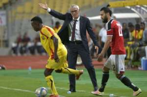 Egypt's national team head coach Hector Cuper gestures during a friendly match against Guinea, at the Borg El-Arab stadium near Alexandria, in August 2016