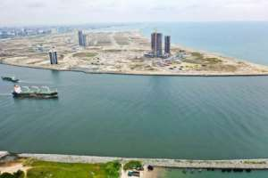Eko Atlantic, pictured here in an aerial photograph, has been billed as a Dubai for Africa, a hyper-luxury enclave of skyscrapers built on land reclaimed from the ocean that aims to transform the city.  By Moise GOMIS (AFP)
