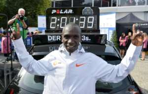 Eliud Kipchoge set the official marathon world record in Berlin in 2018.  By John MACDOUGALL (AFP/File)