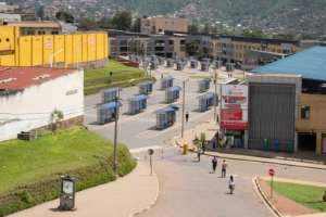 Empty: The bus station in the Rwandan capital Kigali after the government imposed a travel ban.  By Simon Wohlfahrt (AFP)