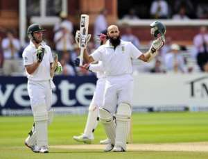 South Africa's Hashim Amla celebrates his century during the fourth day of the third International Test cricket match.  By Glyn Kirk (AFP)