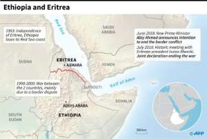Map of Ethiopia and Eritrea and the history of their relations..  By  (AFP)