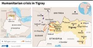 Ethiopia and the region of Tigray.  By Robin BJALON (AFP)
