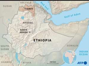 Map of Ethiopia locating the region of Tigray.  By Simon MALFATTO (AFP)