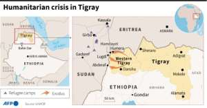 Maps of Ethiopia and the region of Tigray..  By Robin BJALON (AFP)
