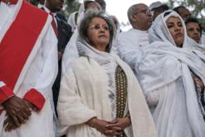 Ethiopian President Sahle-Work Zewde (C) attended the event.  By EDUARDO SOTERAS (AFP)