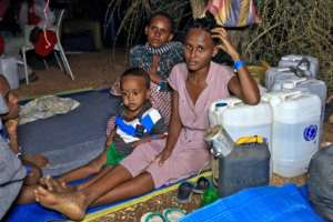 Ethiopian refugees who fled to Sudan