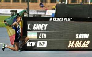 Ethiopia's Letesenbet Gidey took a remarkable four seconds off the previous record for the women's 5,000m set by Tirunesh Dibaba in 2008.  By Jose Jordan (AFP/File)