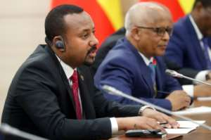 Ethiopia's Prime Minister Abiy Ahmed has upped his tone, saying no force could stop his country building the dam.  By Sergei CHIRIKOV (POOL/AFP)