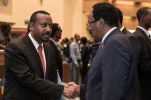 Ethiopia's Prime Minister Abiy Ahmed (L) has won global praise for his reformist agenda.  By YONAS TADESSE (AFP)