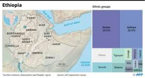 Ethiopia's regions and ethnic groups.  By Simon MALFATTO (AFP)