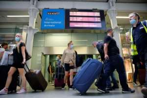 Eurostar trains to London's St Pancras station from Paris were packed on Friday.  By Tolga Akmen (AFP)