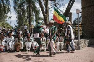 Even the official slogan of this year's celebration - 'Ethiopia's Rebirth at Gondar's Timkat' - is a reference to the Tigray conflict.  By EDUARDO SOTERAS (AFP)