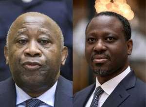 Excluded: Gbagbo, left, and Soro.  By MICHAEL KOOREN, Lionel BONAVENTURE (POOL/AFP)