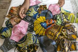 Face masks made by Sheila Notewo, a young Cameroonian woman, from African fabric.  By - (AFP)