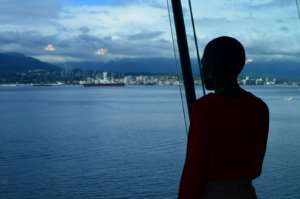 Faridah views the Vancouver harbor on her visit to Canada for the conference.  By Alia DHARSSI (Safer Cities/AFP)