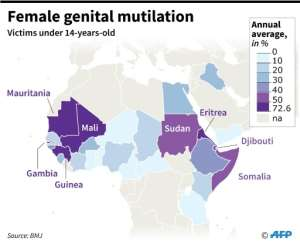 Percentage of girls under the age of 14, in selected countries, who are victims of genital mutilation..  By Simon MALFATTO (AFP)