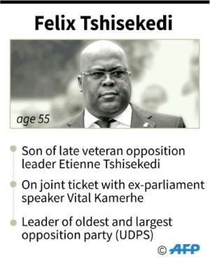 Felix Tshisekedi, declared winner of presidential elections in Democratic Republic of Congo..  By Juliette VILROBE (AFP)