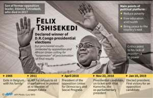 Felix Tshisekedi, former exile, now declared winner of presidential elections in the Democratic Republic of Congo.  By Juliette VILROBE (AFP)