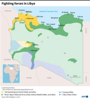 Map showing the positions of forces fighting in Libya.  By  (AFP/File)