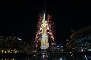 Fireworks explode in Dubai at the Burj Khalifah, the world's tallest building, on New Year's Eve 2020.  By - (AFP)