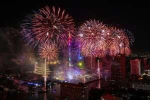 Fireworks explode over Bangkok to ring in the near year in Thailand.  By Krit Promsakla Na Sakolnakorn (AFP)