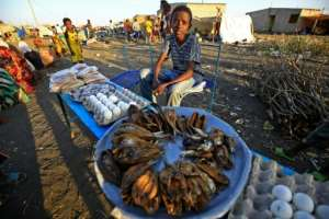 Fish, eggs and bread on sale by Ethiopian refugees to their peers.  By ASHRAF SHAZLY (AFP)