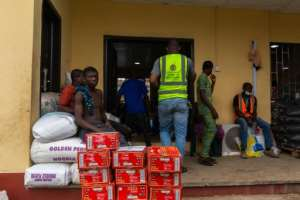 Food aid at a Lagos warehouse.  By Benson IBEABUCHI (AFP)