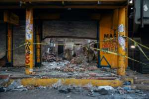 Foreign-owned shops were looted in and around Johannesburg.  By Michele Spatari (AFP)