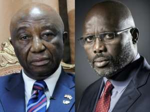 Former footballer George Weah (R) and Vice President Joseph Nyumah Boakai and vying for the Liberian presidency following a run-off vote