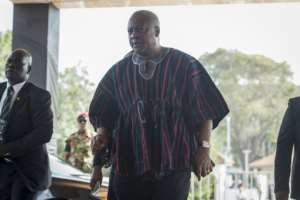 Former president John Mahama, pictured in 2018, was criticised for poor economic decisions and racking up unsustainable debts.  By CRISTINA ALDEHUELA (AFP/File)
