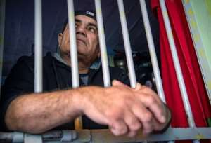 Former prisoner Mohamed Bentazout, released in 2020 after 20 years in jail, has built a replica of his cell at his family house in the city of Kenitra.  By FADEL SENNA (AFP)