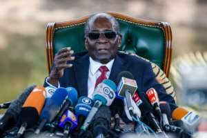 Former Zimbabwean President Robert Mugabe addresses media on July 29 during a surprise press conference at his residence