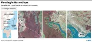 Close-up maps showing the extent of flooding in Beira, Mafambisse and Tica in Mozambique. By Valentina BRESCHI (AFP)
