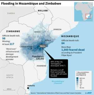 Flooding in Mozambique and Zimbabwe. By (AFP)