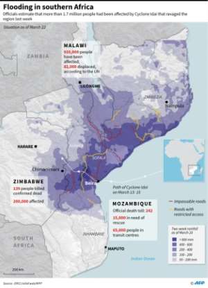 Updated graphic showing the situation in Mozambique, Zimbabwe and Malawi after flooding this month.. By (AFP)
