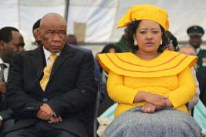 Flashback to June 16, 2017: Thabane and his future wife, Maesaiah Thabane, attend his inauguration, two days after his wife's murder.  By SAMSON MOTIKOE (AFP/File)