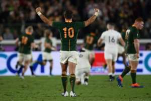 Fly-half Handre Pollard kicked 22 points in South Africa's win.  By CHARLY TRIBALLEAU (AFP)