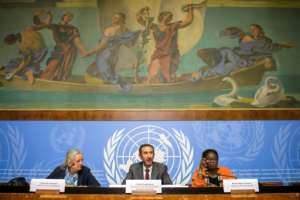 (From L) Members of the UN Commission of Inquiry on Burundi, Francoise Hampson, Commission President Fatsah Ouguergouz and Reine Alapini-Gansou attend a press conference on the commission's report in Geneva on September 4, 2017
