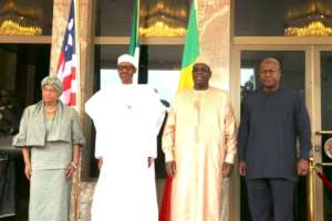 From L: President of Liberia Ellen Johnson Sirleaf, President of Nigeria Muhammadu Buhari, President of Senegal Macky Sall and former President of Ghana John Mahama pose in Abuja on January 9, 2017
